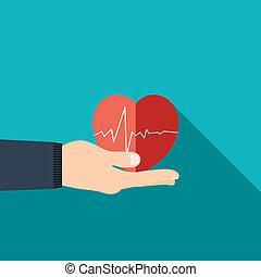 hjärta, bakgrund, lägenhet, hand, design, holdingen