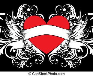hjärta, bakgrund, tatuera
