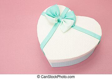 hjärta, band, gåva, rosa, yta, boxas