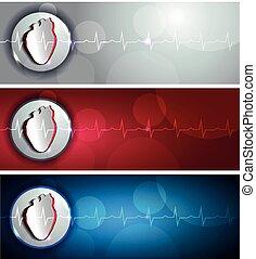 hjärta, baner, kardiogram