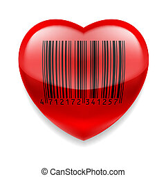 hjärta, barcode, röd