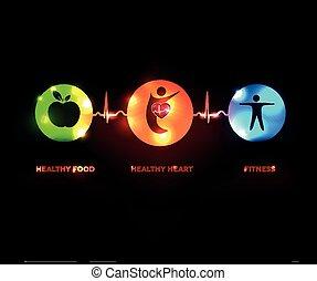 hjärta, begrepp, hälsosam, symboler, bulta, sammanhängande, mänsklig, fodra