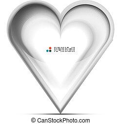 hjärta, begrepp, kärlek, metallisk, vektor, 3