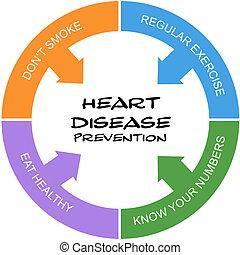 hjärta, begrepp, ord, sjukdom, klottra, cirkel, förhindrande