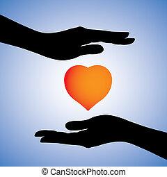 hjärta, begrepp, visa, kvinnlig, beskyddande, &, illness., också, 2, säkerhet, har, vara, använd, heart-break., symbol., illustration, skydd, räcker, grafisk, sjukdom, kan, emotionell
