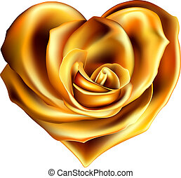 hjärta, blomma, guld