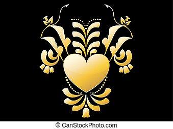 hjärta, blomma, guld, färg, vektor, svart