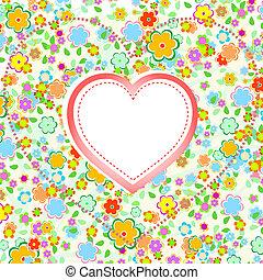 hjärta, blomma, valentinkort, bakgrund, vektor, dag