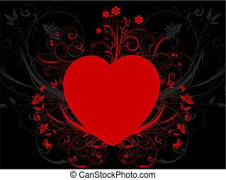 hjärta, blommig