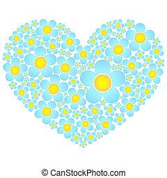 hjärta, blomningen, valentinbrev