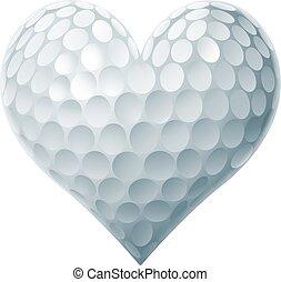 hjärta, boll, golf