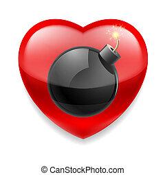 hjärta, bomb, röd