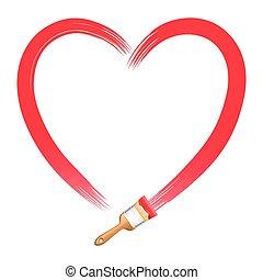 hjärta, borsta, röd, teckning