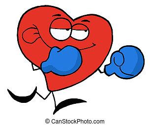 hjärta, boxning, röd