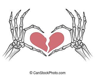 hjärta brutna, skelett, räcker