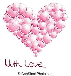 hjärta, bubblar, tvål, bilda