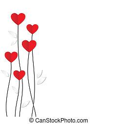 hjärta, card., paper., valentinkort, helgdag, dag