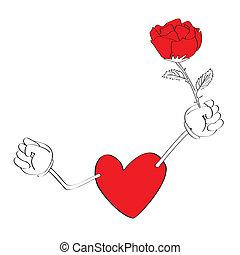 hjärta, cartoons, valentinbrev