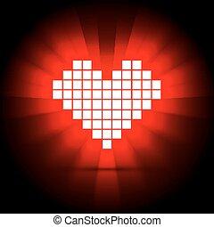 hjärta, concept., illustration, energi, vektor, hälsa
