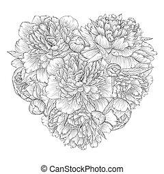 hjärta, dekorerat, blomningen, pion