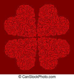 hjärta, dekorerat, röd