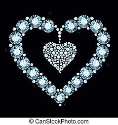 hjärta, diamant