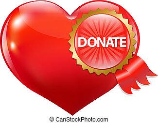 hjärta, donera, röd, etikett
