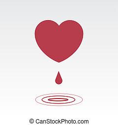 hjärta, droppa