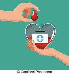 hjärta, droppe, hand, blod, holdingen, donera