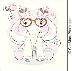 hjärta, elefant, glasögon