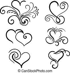 hjärta, elementara, hand, vektor, virvla runt, oavgjord