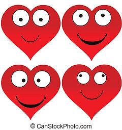 hjärta, emoticons, rolig