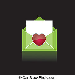 hjärta, färgrik, grön, posta