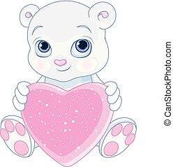 hjärta, fästen, björn, teddy