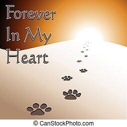 hjärta, för alltid, -, minnesmärke, hund, min