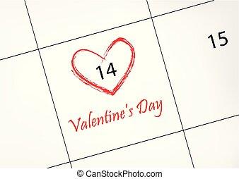 hjärta, februari 14, valentinkort, illustration, form, vektor, röd, circled, datera, horisontal, kalender, dag