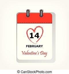 hjärta, februari, fyrkant, ark, 14, valentinkort, illustration, form, vektor, circled, datera, kalender, dag, röd