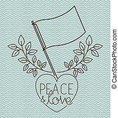 hjärta, flagga, fred, meddelande