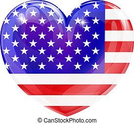 hjärta, flagga, kärlek, usa