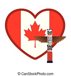 hjärta, flagga, totem, kanadensare
