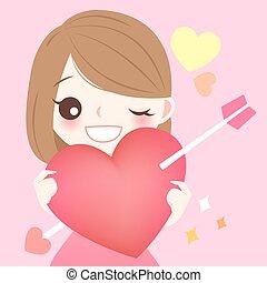 hjärta, flicka, hålla, röd