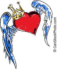 hjärta, flygning, krona, illustration