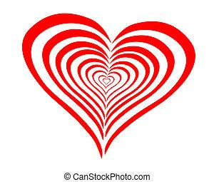 hjärta, fodrar, röd, böjd