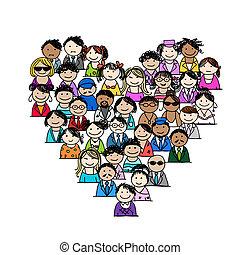 hjärta, folk, ikonen, form, design, din