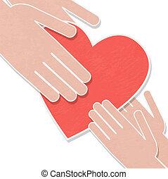 hjärta, folk., mänsklig, rädda, illustration