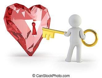 hjärta, folk, -, nyckel, liten, 3
