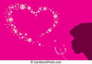 hjärta, form, ludd, maskros