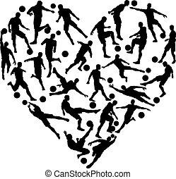 hjärta, fotboll fotboll