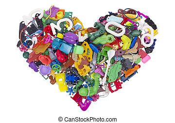 hjärta, från, bruten, nej, namn, toys