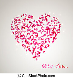 hjärta, från, den, blid, rosa kronblad